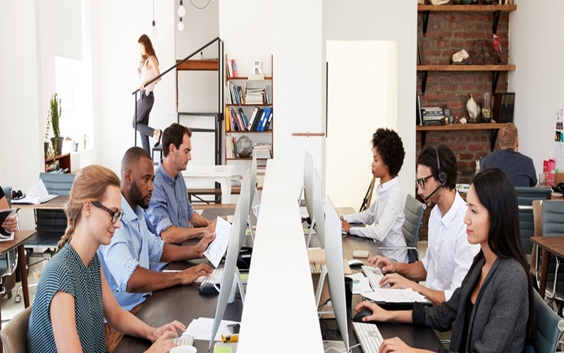 six employees in an open plan work space